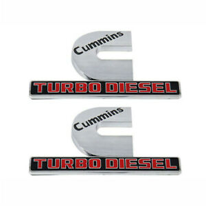 2x Fender Cummins Turbo Diesel Emblem For Dodge Ram 2500 3500 Silver Black Red