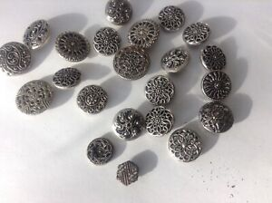 Antique Vintage Metal Buttons Fancy Twinkles Mirror Backs Mixed Lot Of 22