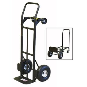 Milwaukee 800 Lb Capacity 2 in 1 Convertible Hand Truck W 10 Never Flat Tires