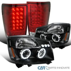 For 2004 2015 Nissan Titan Black Halo Led Projector Headlights Red Led Tail Lamp