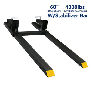 Heavy Duty 4000lbs Clamp On Pallet Forks 60 W Stabilizer Bar Loader Tractor