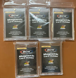Lot Of 5 Bcw 55 Pt One Touch Thick Card 55pt Magnetic Card Holder Pro Uv