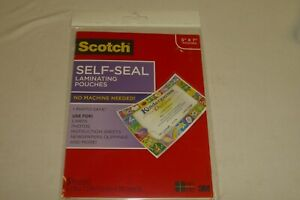Scotch Self seal Laminating Pouches No Machine Needed 5 Pouches New Free Shippin
