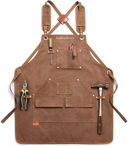 Woodworking Shop Apron High Grade Thick Canvas Work Tool Aprons With Pockets Adj