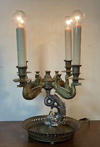 Antique French Empire Brass Bronze Dolphin And Swan Bouillotte Lamp Works Flawed