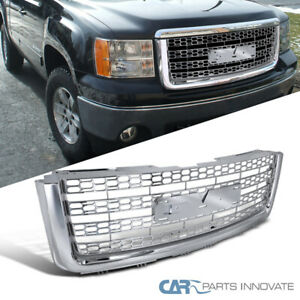 For 07 13 Gmc Sierra 1500 Light Duty Chrome Mesh Honeycomb Upper Front Grille