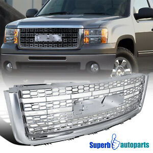 For 2007 2013 Gmc Sierra 07 13 Denali Abs Front Mesh Grill Honeycomb Hood Grille