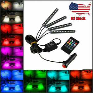 Rgb Led Interior Car Under Dash Foot Well Seat Inside Lighting Remote Control Us