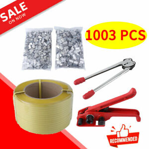 1003 Pcs Heavy Duty Pallet Strapping Banding Kit Tensioner Tool Sealer Coil Us