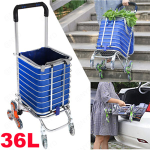 Folding Shopping Cart Utility Trolley Portable For Grocery Laundry Travel Silver
