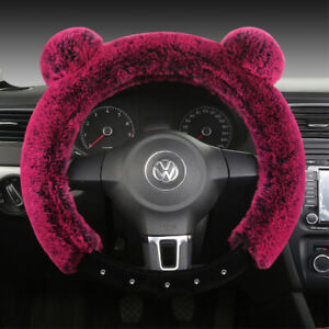 Universal Soft Warm Ears Faux Rabbit Fur Car Steering Wheel Cover For Decoration