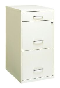 Space Solutions 3 Drawer File Cabinet With Pencil Drawer Pearl White Color New