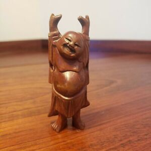 Small Vintage Asian Laughing Buddha Carved Wood Figurine