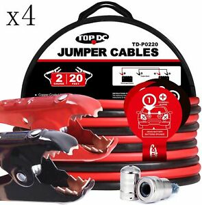 4 Sets Jumper Cables 2 Gauge 20 Ft 450a Heavy Duty Booster Cables With Carry Bag