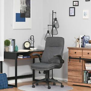 Linen Fabric Covered Pc Task Chair With Rocking Function And Swivel Wheels Grey