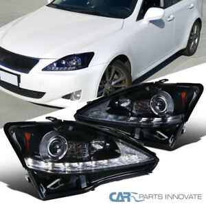 Glossy Black 06 09 Fit Lexus Is250 Is350 Led Strip Projector Headlights signal