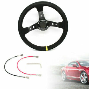 New 14 Deep Dish 6 bolt Racing Steering Wheel Horn Button Suede Leather 350mm