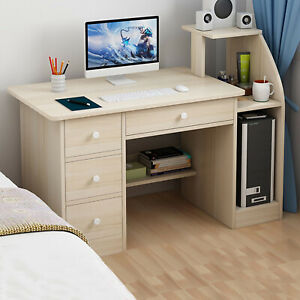 Wood Computer Desk With 3 Drawers Shelf Pc Laptop Office Table Home Desks Us