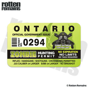 Ontario On Zombie Hunter Hunting Permit Sticker Decal C2l