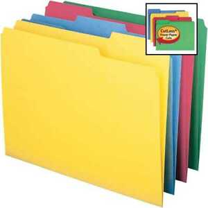 Smead Cutless File Folder 1 3 Cut Tab Letter Size Assorted Colors 100 Per Box 11