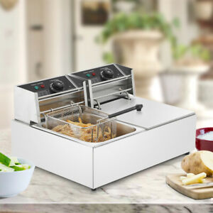 2500w 5000w Electric Deep Fryer Dual Tank Stainless Steel Commercial Restaurant