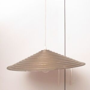 Vintage Mid Century Modern Brass Stair Shaped Saucer Hanging Pendant Lamp Cone