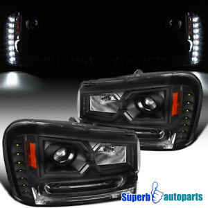 For 2002 2009 Chevy 02 09 Trail Blazer Black Projector Headlights Led Strip Lamp