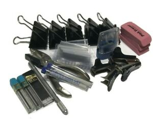 Home Office School Supplies Mixed Lot Leads Erasers Binder Clips More