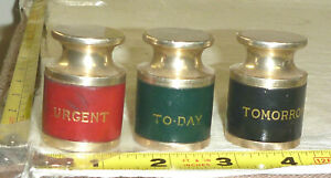 Vtg Set Of 3 Metal Leather Desk Paperweights urgent Today Tomorrow