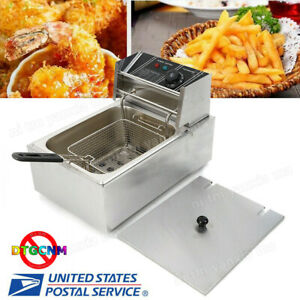 2500w 6l 6 3qt Stainless Steel Electric Deep Fryer Home Commercial Restaurant