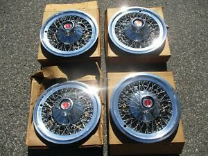 Genuine 1977 To 1979 Mercury Cougar Wire Spoke 15 Inch Hubcaps Wheel Covers