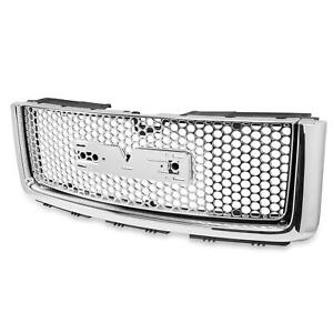New For 2007 2013 Gmc Sierra 1500 Chrome Round Mesh Front Bumper Hood Grille Abs