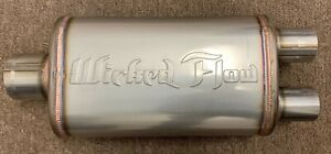 100 Authentic Wicked Flow Max Performance Racing Muffler Single dual 3 2 50inch