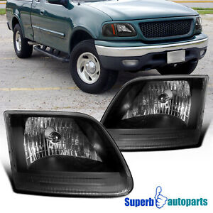 For 1997 2003 Ford F150 97 02 Expedition Headlights Head Lamps Black Pair