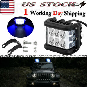4 Blue White Led Truck Atv Side Strobe Light 60w Cube Work Flash Fog Lights Usa