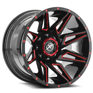 4 xf Offroad Xf 218 20x12 5x5 5 5x150 44mm Black red Wheels Rims