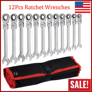 12pc Flexible Head And End Ratchet Wrench Tool Set Sae Metric Combination W Bag