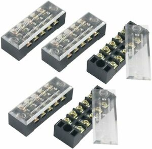 5 Pcs Dual Row 5 Position Screw Terminal Strip 600v 15a
