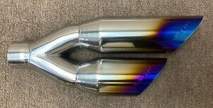 Dual Universal Truck Exhaust Tip Stainless Steel Replacement Mod Blue Flame