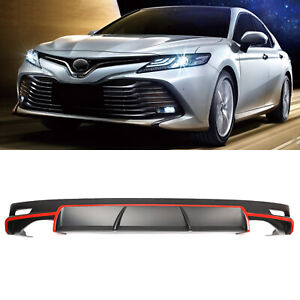 Fits 18 20 Toyota Camry Le Xle Rear Bumper Lip Diffuser Black Red