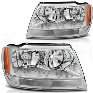 Headlights Assembly For Jeep Grand Cherokee 1999 2004 Pair Replacement Headlamps