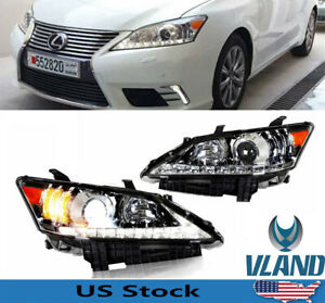 Vland For Lexus Es350 Headlights Front Lamps 2010 2012 Chrome Led Drl Dual Beam