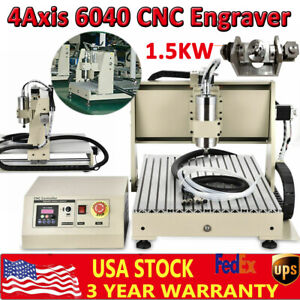 Usb 4axis 1500w Cnc 6040 Router Engraver Woodworking Milling Machine Vfd Spindle