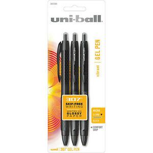 Uni ball Signo 307 Retractable Gel Ink Pens 0 5mm Micro Black Ink 3 count