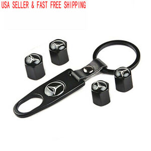 Black Wheel Tire Air Valve Caps Stem Valve Cover Keychain For Mercedes Benz