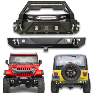 Front And Rear Bumper With Winch Plate d rings Fit 1997 2006 Jeep Wrangler Tj