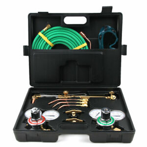 Portable Welding Cutting Kit Oxy Acetylene Oxygen Torch With Hose Case Kit