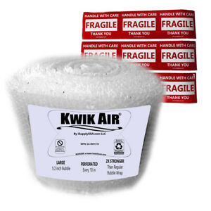 Kwikair Bubble Wrap Roll 100 X 14 Large 1 2 Bubbles Perforated Every 10
