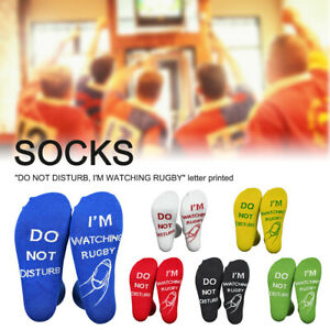 Women Men Funny Socks Novelty Comfy Fashion Do Not Disturb I m Watching Rugby