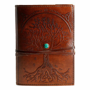 Handmade Leather Tree Of Life Stone Journal writing Notebook Diary Lined Paper